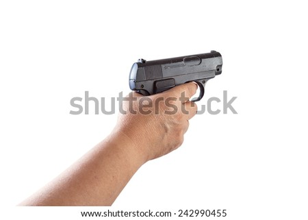 Old Woman's hand with a gun Isolated