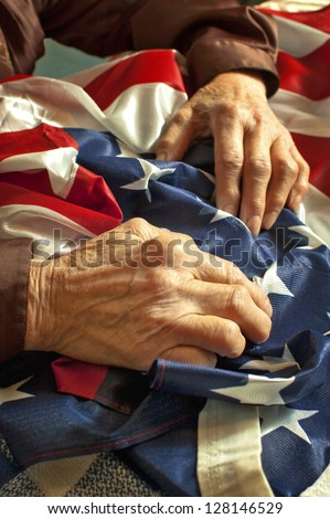 Old woman's hands holding an American flag - stock photo