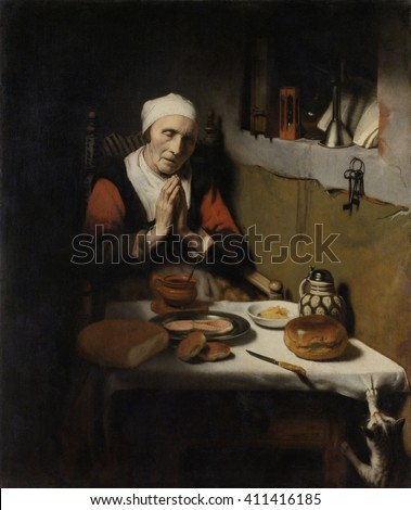 Old Woman Saying Grace, by Nicolaes Maes, 1656, Dutch painting, oil on panel. Also known as xA5The Prayer without End'. Ignoring her cat clawing at the table cloth,