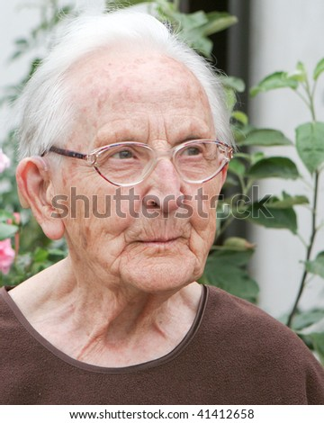 old woman, smiling - stock photo