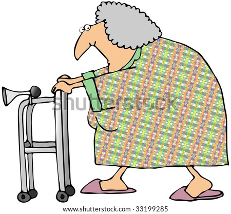 Old Woman With A Walker - stock photo