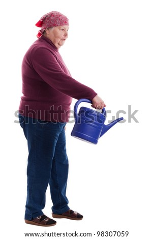 old woman with an ewer - stock photo