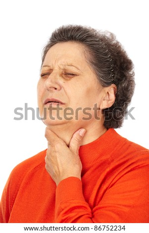 Old woman with laryngitis isolated on white background