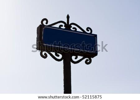 old wood and iron bridge sign - stock photo