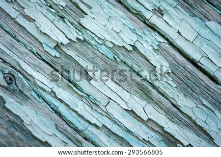 Old wood background. Diagonal blue wooden planks. - stock photo