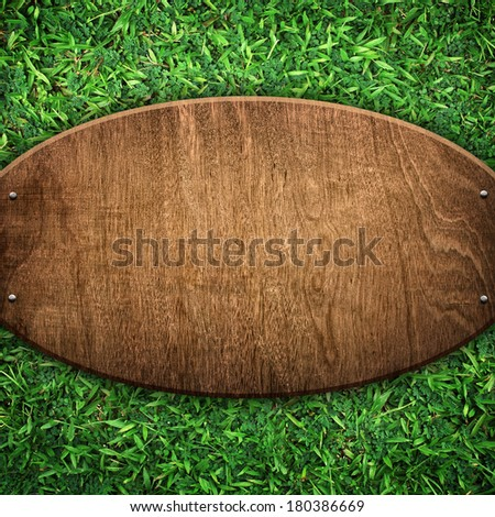 old wood board on grass background - stock photo