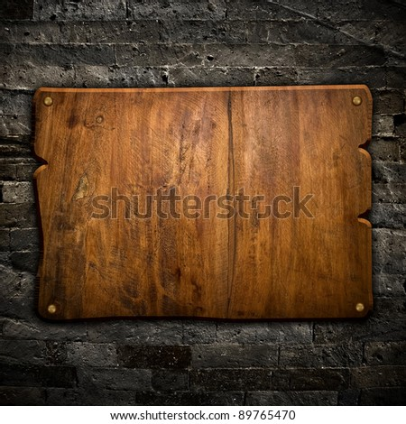 old wood board on wall - stock photo