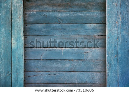 old wood boards, vintage blue background - stock photo
