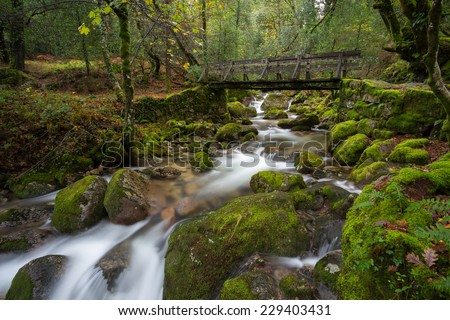 Old Wood Bridge in Geres, National Park, Portugal - stock photo