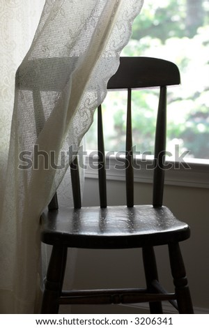 Old wood chair with lace - stock photo