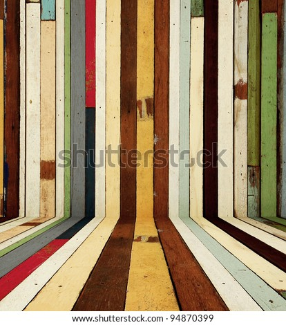 Old wood color painted room background - stock photo