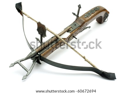 old wood crossbow isolated in white background - stock photo