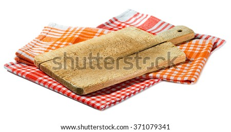 Old Wood Cutting Board Isolated on White / Used wooden cutting board on a checkered tablecloth red, orange and white. Isolated on white background - stock photo
