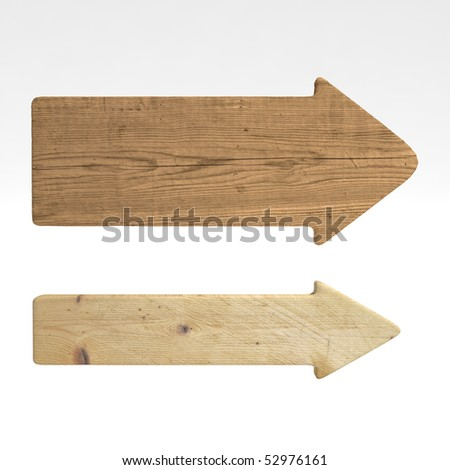 Old wood directional signs, isolated over white - stock photo