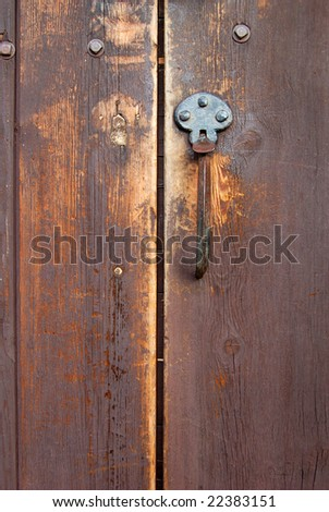 Old Wood Door With Iron Handle