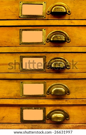 Old Wood Drawer Set with Blanked Labels - stock photo
