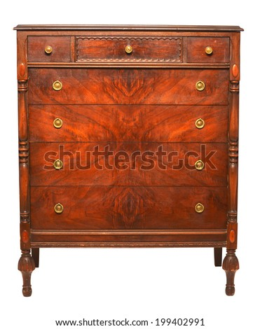 old wood dresser isolated with clipping path on white background - stock photo