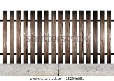 old wood fence model on concrete foundation  isolated over white background - stock photo