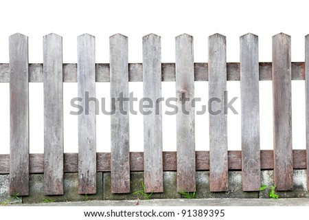 Old wood fence on white background, with clipping paths - stock photo