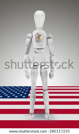 Old wood figure mannequin with US state flag bodypaint - Illinois - stock photo