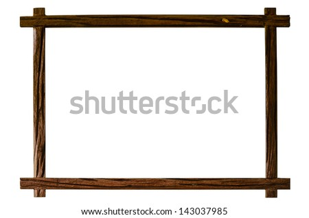 Old Wood Frame on The Old Wall - stock photo