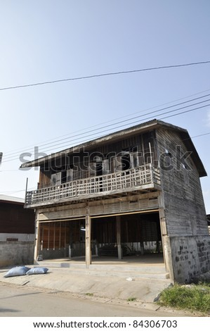 Old Wood House Thailand Day Outdoor - stock photo