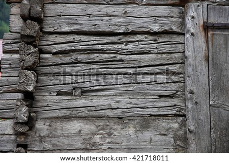 Old wood of cowshed, Switzerland  - stock photo