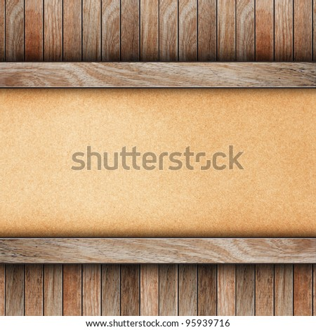 old wood on brown paper background - stock photo