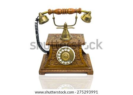 Old Wood Phone - stock photo