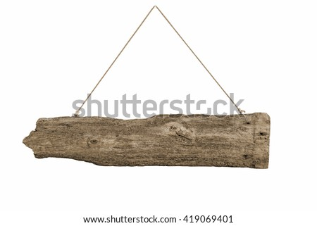 Old Wood plank, isolated on white background. Old style sepia. - stock photo