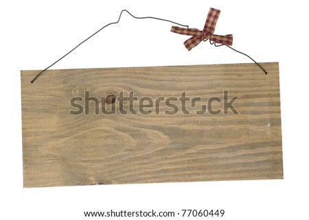 Old wood plank on wire with bow isolated on white background \ Old wood notice board - stock photo