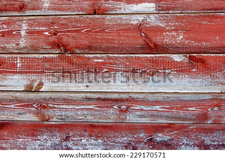 Old wood plank painted in red color background. Grunge vintage panel. Rough textured dirty weathered timber. - stock photo