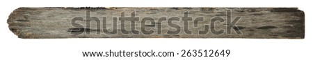 Old wood plank with texture isolated on white background. - stock photo