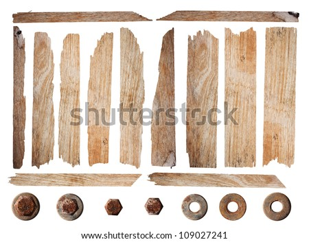 Old wood planks isolated on white background with clipping path