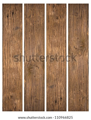 old wood planks textures isolated on white - stock photo
