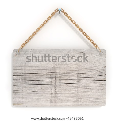 Old wood sign with a rusty chain, hanging on the wall - stock photo