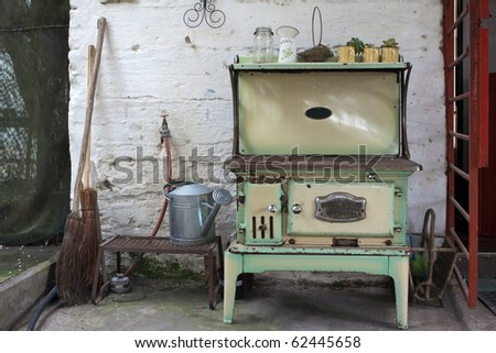 Old wood stove on a farm in South Africa - Old Wood Stove Stock Images, Royalty-Free Images & Vectors