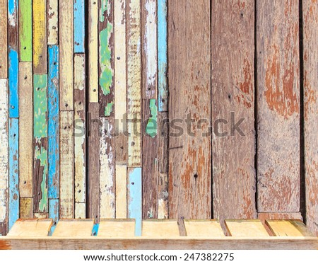 old wood table and old rustic wooden table background top view - stock photo