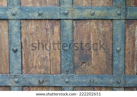 Old Wood texture; Medieval doors - stock photo