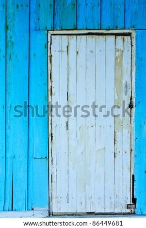 Old wood wall and door - stock photo