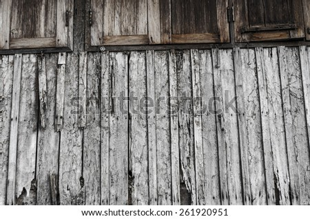old wood wall and old wood window. abstract retro and monochrome texture. - stock photo