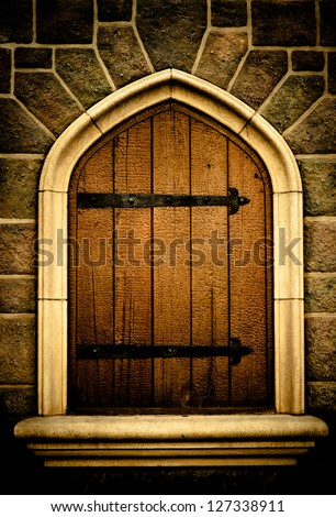 Old wood window - stock photo