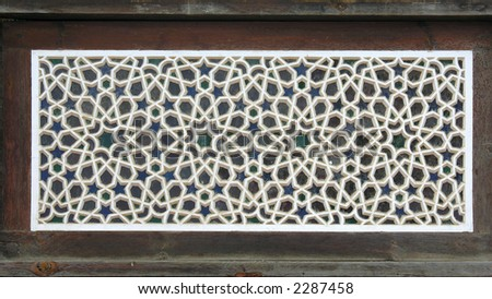 Old wood window with stars - stock photo