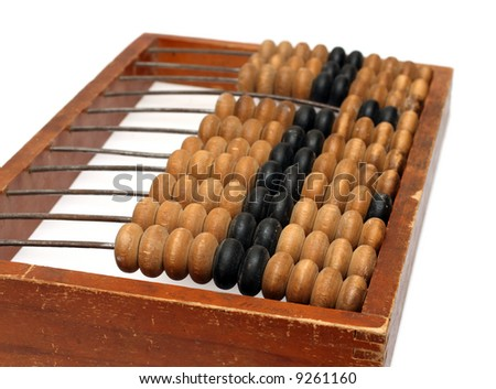 old wooden abacus close-up isolated on white