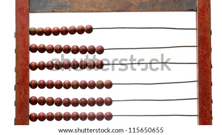 Old wooden abacus detail isolated on white background