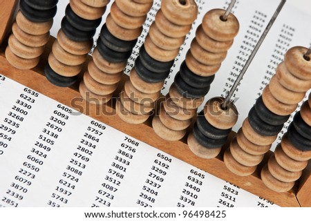 old wooden abacus on the background working papers - stock photo