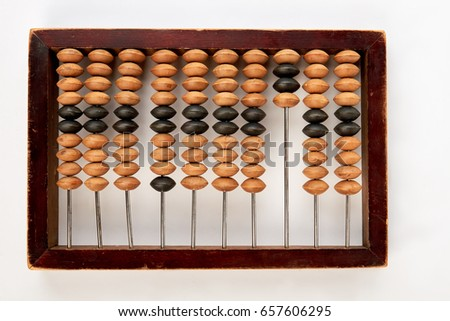 Old wooden abacus, white background. Retro calculator of money. Concept of business.