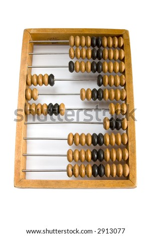 Old wooden abacus with a calculated sum.