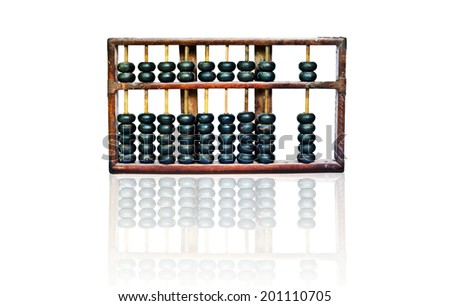 old wooden abacus with reflection on white background - stock photo