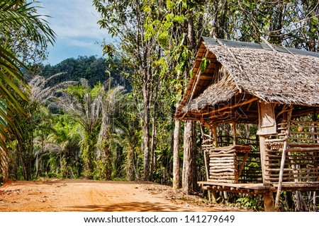Old wooden abandoned house in the tropics - stock photo